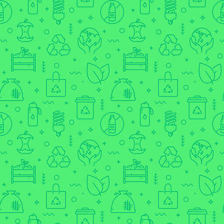 Zero waste seamless pattern with line icons. Monochrome green background. Waste recycling, reusable items, eco lifestyle, caring for the environment, saving the planet and plastic-free themes. Vector illustration.