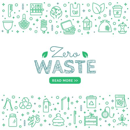 Zero waste web banner with line icons isolated on white background. Recycling, reusable items, save the Planet and eco lifestyle themes. Vector template.