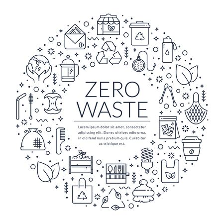 Zero waste banner with line icons and place for text. Template for recycling, reusable items, save the Planet and eco lifestyle themes. Ring shape made of black outline symbols isolated on white background. Vector card.