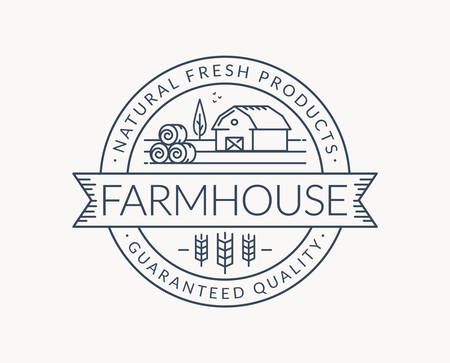 Farm logo isolated on white background. Black line emblem with farmhouse, wheat ear and hay bales. Vector outline badge for natural products and organic food.
