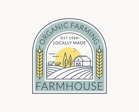 Farm logo isolated on white background. Line emblem with farmhouse, cows and wheat ear. Colored outline badge for natural products and organic food. Vector illustration.