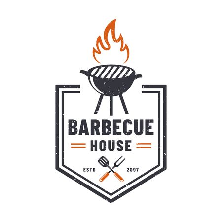 Barbecue house logo isolated on white background. Retro emblem with grill. Vector badge for BBQ restaurant.
