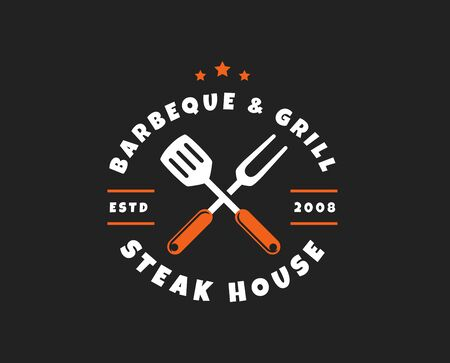 Barbecue and grill logo isolated on black background. Vector emblem for barbecue restaurant or steak house.