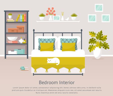 Bedroom interior. Vector banner with place for text. Design of a trendy cozy room with double bed, shelf unit, white cat, and decor accessories. Home furnishings. Flat illustration. Иллюстрация