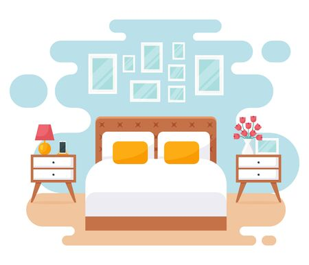 Bedroom interior. Modern banner. Vector. Design of a cozy room with double bed, bedside tables, and decor accessories. Home or hotel furnishings. Flat illustration isolated on white background.