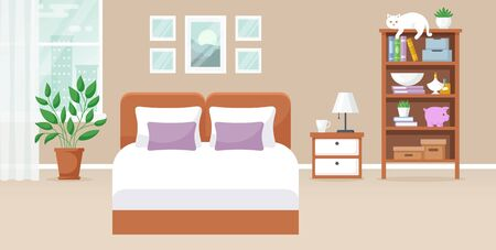 Bedroom interior. Vector illustration. Design of a cozy room with double bed, bedside table, window, bookcase, decor accessories and cute cat. Home furnishings. Horizontal flat banner.