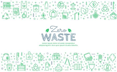 Zero waste web banner with green line icons isolated on white background. Recycling, reusable items, plastic free, save the Planet and eco lifestyle themes. Vector horizontal template with place for text.