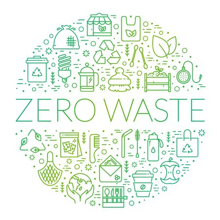 Zero waste banner. Recycling, reusable items, save the Planet, go green and eco lifestyle themes. Circle shape made of line symbols isolated on white background. Vector card.