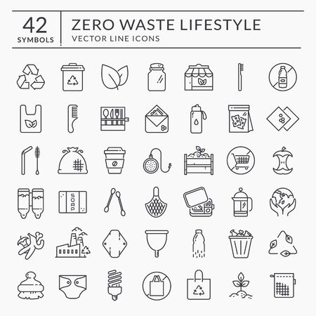 Zero waste line icons. Black outline symbols isolated on white background. Recycling, reusable items, plastic free, save the Planet and eco lifestyle themes. Vector collection.