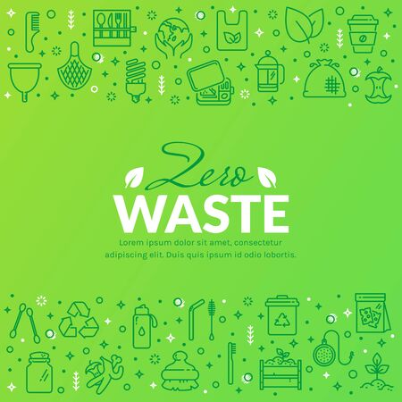 Zero waste banner with line icons isolated on green background. Recycling, reusable items, save the Planet and eco lifestyle themes. Vector template with place for text. Иллюстрация