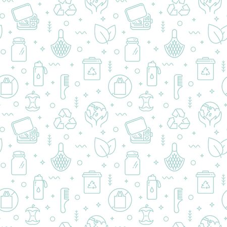 Zero waste seamless pattern with line icons. Pale desaturated vector background. Waste recycling, reusable items, eco lifestyle, caring for the environment, saving the planet and plastic-free themes.