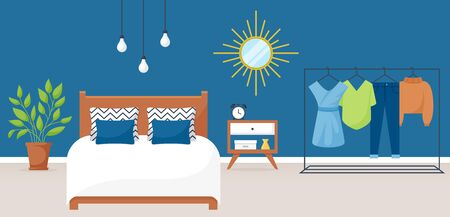 Bedroom interior. Vector illustration. Design of a trendy cozy room with double bed, bedside table, clothes rack, mirror and decor accessories. Home furnishings. Horizontal flat banner. Иллюстрация