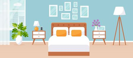Bedroom interior. Vector illustration. Design of a modern room with double bed, bedside tables, window and decor accessories. Home furnishings. Horizontal flat banner. Иллюстрация
