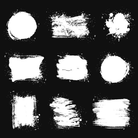 Paint brush stains, strokes, splatters and blots of different shapes for frame, banner, label, text box, clipping masks or other art design. Vector grunge textures isolated on black backgrounds. Illustration