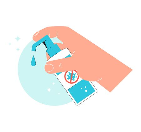 Sanitizer gel. Hand holds antibacterial agent. Disinfection - preventive measure against the spread of coronavirus covid-19. Bottle of antiseptic cleanser. Vector concept isolated on white background. Stock Vector - 147478889
