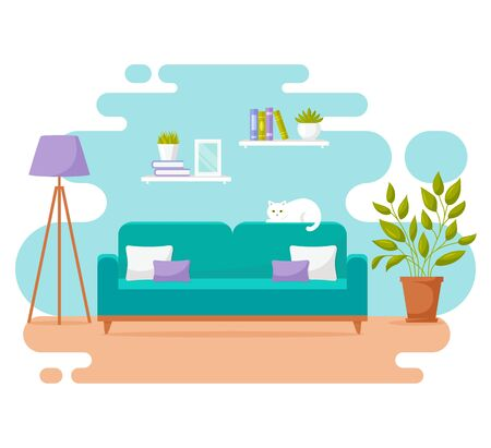 Living room interior. Modern banner. Vector design of a cozy room with sofa, floor lamp, cute cat, and decor accessories. Home furnishings. Flat illustration isolated on white background.