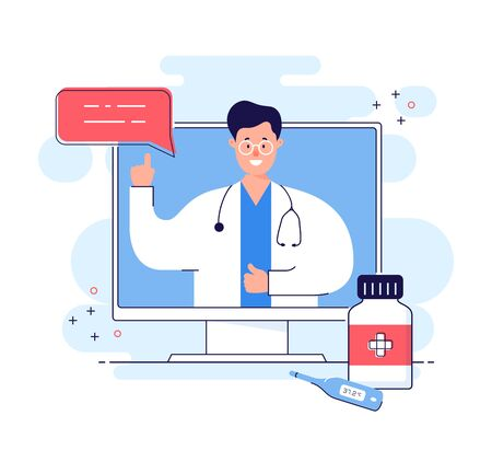 Online consultation with doctor remotely. Medical internet service for distant support or health care. Physician advises how to treat disease. Telemedicine concept isolated on white background. Vector