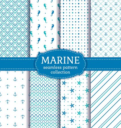 Nautical patterns. Set of sea seamless backgrounds with seahorses, anchors, starfish and abstract ornaments. Vector collection in blue, turquoise and white colors.  Иллюстрация