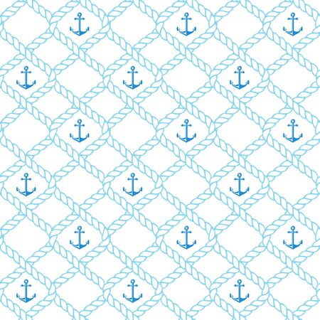 Nautical seamless pattern with rope and anchors. Vector background.