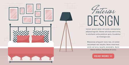 Bedroom interior. Vector web banner with place for text. Modern room design with double bed, lamp, and decor accessories. Home furnishings. Flat illustration with copy space.