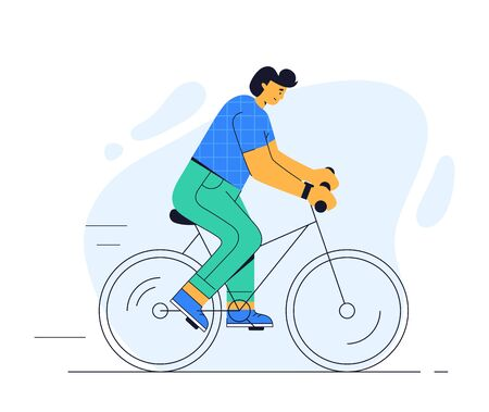 A man rides a bike. Vector illustration of a cyclist isolated on a white background. Flat style. Modern young guy on a bicycle. Healthy lifestyle, outdoor activity, or ecological transport concepts.