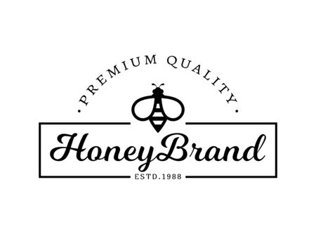 Vector emblem for honey brand. Logo template with bee. Black sign isolated on a white background.