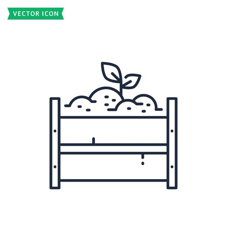 Compost pile line icon isolated on a white background. Zero waste concept. Outline symbol. Vector sign.