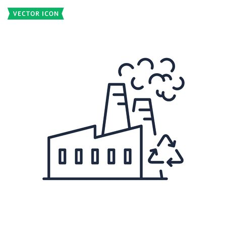 Factory line web icon isolated on a white background. Garbage processing plant. Vector. Zero waste and recycling concepts. Outline symbol.