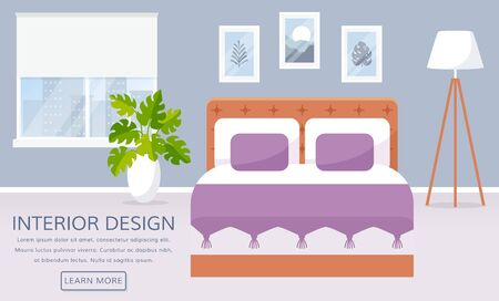 Bedroom interior. Vector web banner with place for text. Cozy room design with window, double bed, floor lamp, and decor accessories. Home furnishings. Flat background with copy space. Illustration
