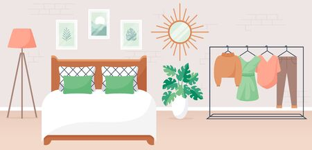 Bedroom interior. Vector illustration. Design of a stylish modern room with double bed, clothes rack, mirror, and decor accessories. Home furnishings. Horizontal flat banner.