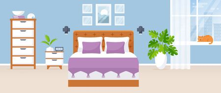 Bedroom interior. Vector illustration. Design of a modern room with double bed,  bedside table, drawer chest, window, and decor accessories. Home furnishings. Horizontal flat banner.