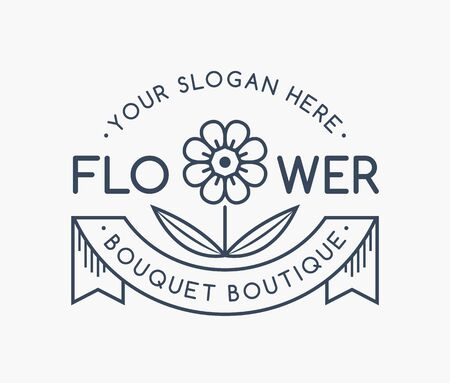 Flower shop line emblem. Vector floral outline isolated on a white background. Иллюстрация