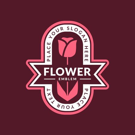 Flower emblem. Vector template for floral with tulip.