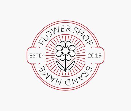 Flower shop line emblem. Vector floral outline isolated on a white background. Illustration