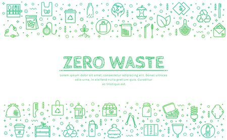 Zero waste web banner. Recycling, reusable items, plastic free, save the Planet and eco lifestyle themes. Vector horizontal background with place for text. Vettoriali