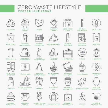 Zero waste line icons. Outline symbols isolated on white background. Recycling, reusable items, plastic free, save the Planet and eco lifestyle themes. Vector collection with inscriptions.
