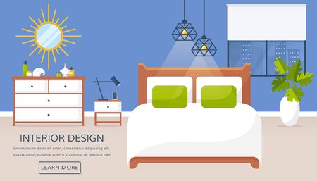 Bedroom interior. Vector web banner with place for text. Modern room design with double bed, bedside table, dresser, mirror, window, and decor accessories. Evening. Home furnishings. Flat illustration
