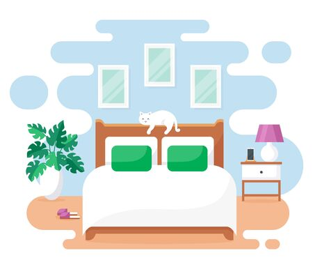 Bedroom interior. Modern banner. Vector. Design of a cozy room with double bed, bedside table, cute cat, and decor accessories. Home furnishings. Flat illustration isolated on white background. Illustration