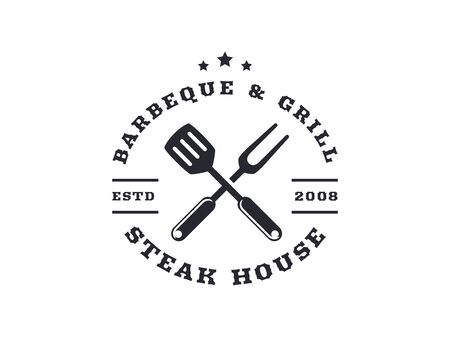 Barbecue and grill isolated on white background. Vector emblem for barbecue restaurant or steak house.