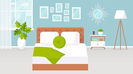 Bedroom interior. Vector illustration. Design of a modern room with double bed, bedside table, window, floor lamp and decor accessories. Home furnishings. Horizontal flat banner. Stock Vector - 149504802