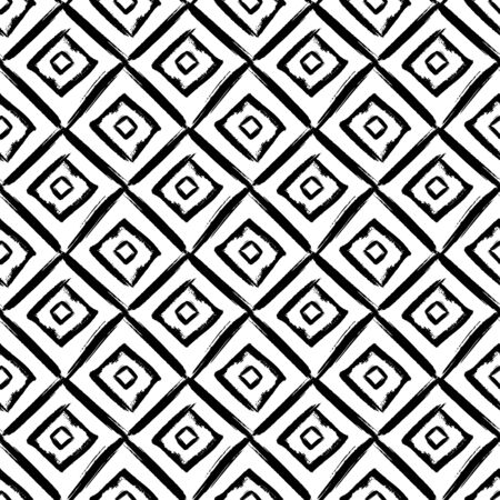Abstract seamless pattern with hand-drawn rhombuses. Black and white  grunge background. Vector texture.