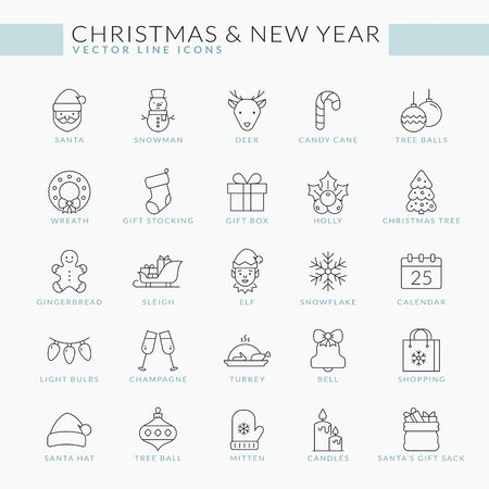 Christmas and New Year outline icons set. Vector thin line collection for Season's Greetings. Isolated winter holiday symbols - Santa, snowman, gifts, Christmas tree, snowflake, deer, cookie, etc.