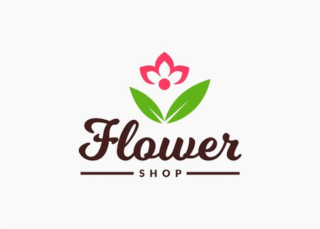 Flower shop . Vector floral symbol isolated on a white background. Illustration