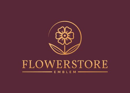 Flower store . Elegant golden floral emblem isolated on clean background. Vector template.