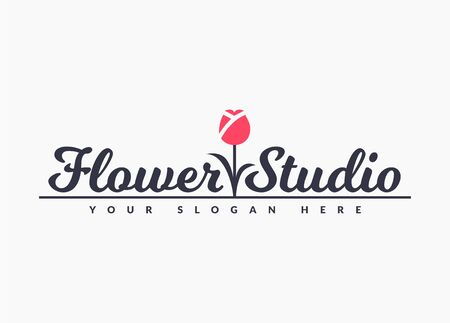 Flower studio . Vector floral emblem isolated on a white background.