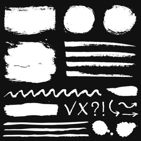 Paint brush strokes, grunge stains and symbols isolated on black background. White vector design elements for paintbrush texture, frame, background, banner or text box. Freehand drawing collection.
