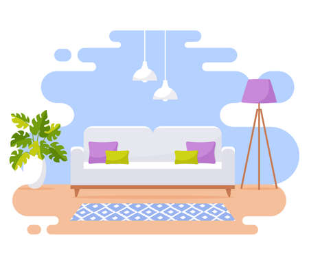 Living room interior. Modern banner. Vector design of a cozy room with sofa, floor lamp, and decor accessories. Home furnishings. Flat illustration isolated on white background.