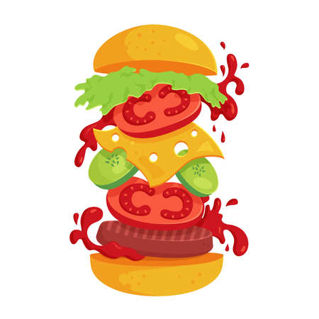 Hamburger - vector illustration isolated on white background. Fast food concept with flying ingredients. Juicy and attractive burger for design of restaurant menu or advertisement poster.