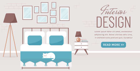 Bedroom interior. Vector web banner with place for text. Modern cozy room design with double bed, bedside table, floor lamp, and decor accessories. Home furnishings. Flat background with copy space. Illustration