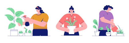 Houseplant care concepts. Young women cultivate of indoor plants. Set of vector illustrations isolated on white background.